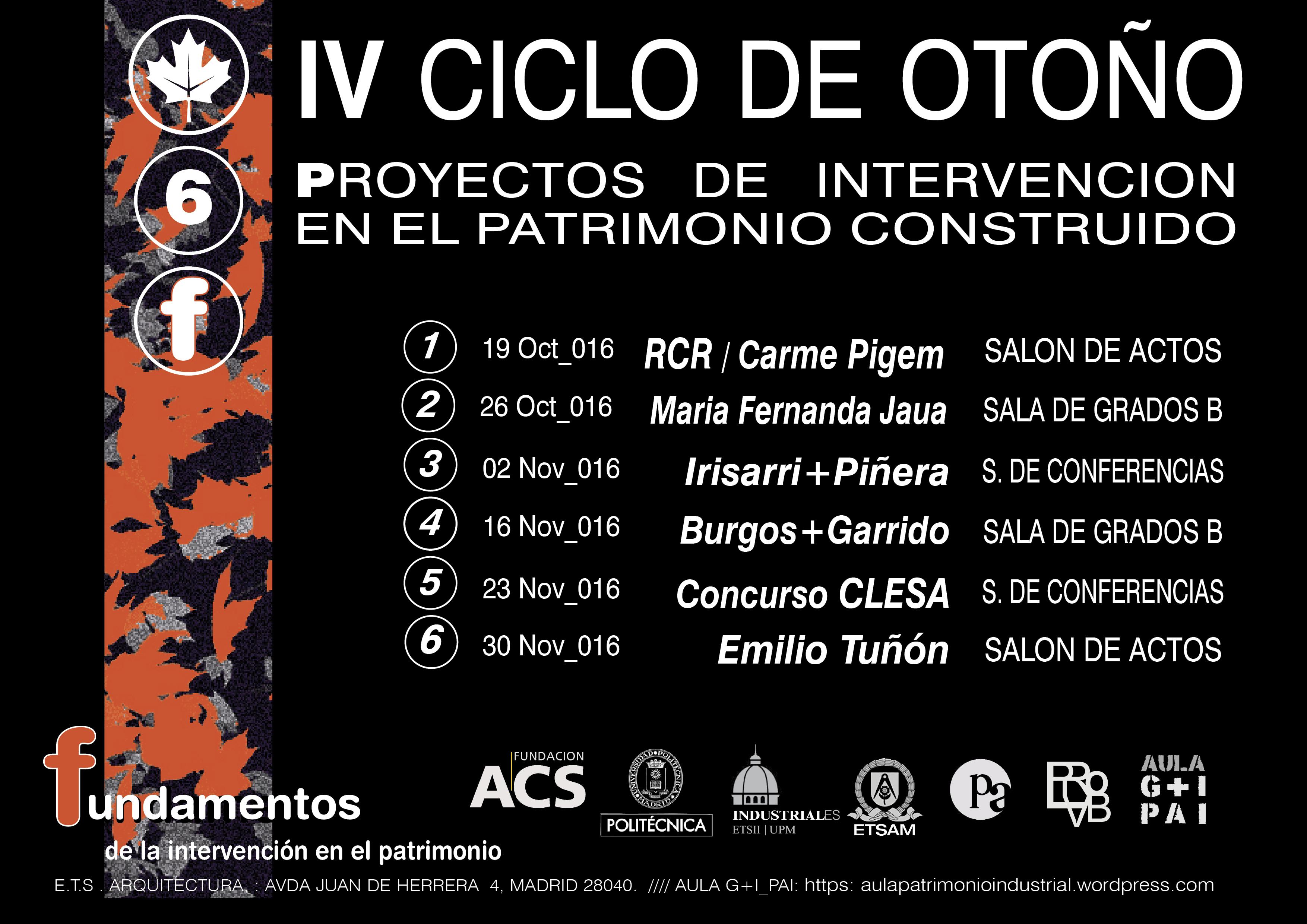 Ciclo de conferencias de proyectos de intervención en el patrimonio construido
